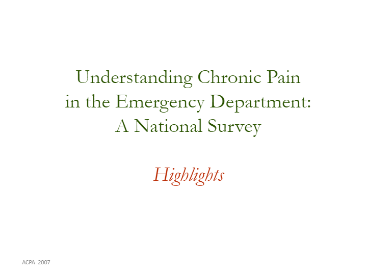 Key Findings of the Emergency Department Survey